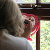 Finishing touches to a brides make up at Dairy Barns