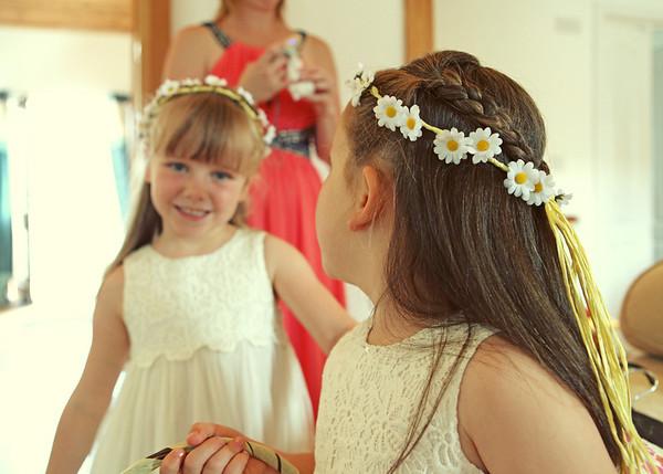 Beautiful flowergirls at a wedding at Dairy Barns