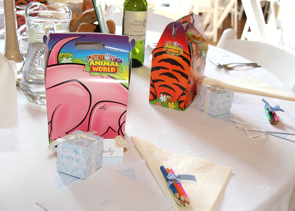 Children's presents at a wedding breakfast at Dairy Barns