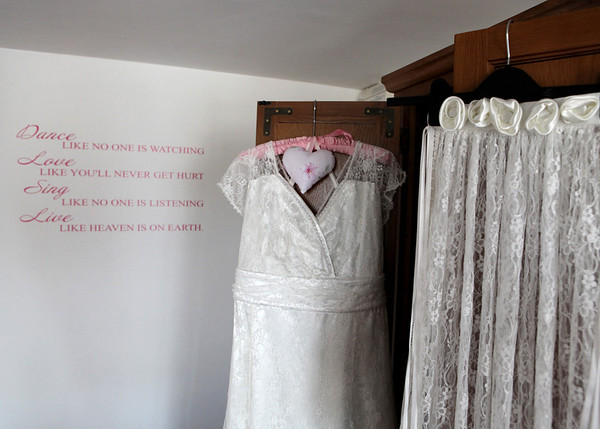 Stunning wedding dress that the bride's mum had made her for a wedding at Dairy Barns