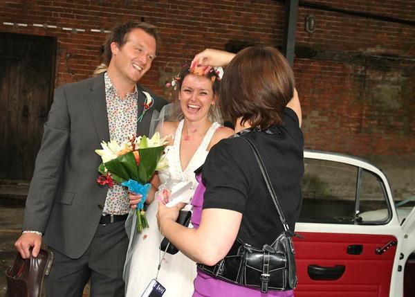 Confetti at a wet wedding at Dairy Barns