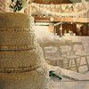 A beautiful wedding cake at a wedding at Dairy Barns