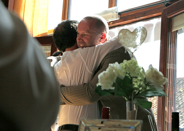 A groom thanking his bestman after his speech at Dairy Barns