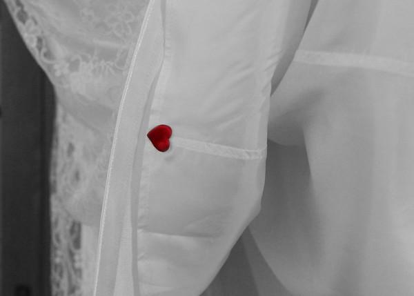 Cute little heart detail sewn into a Brides dress