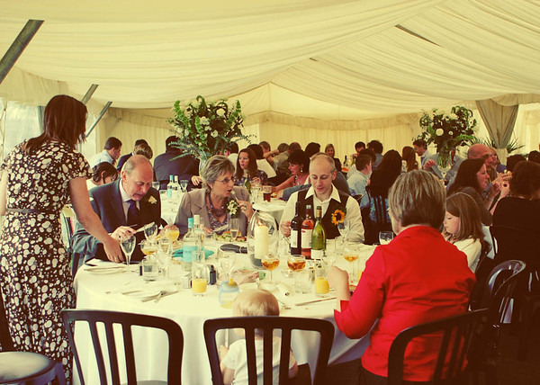 Inside the marquee at a large wedding at Elms Barn
