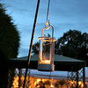Beautiful night lights set up for an evening wedding reception at Elms Barn