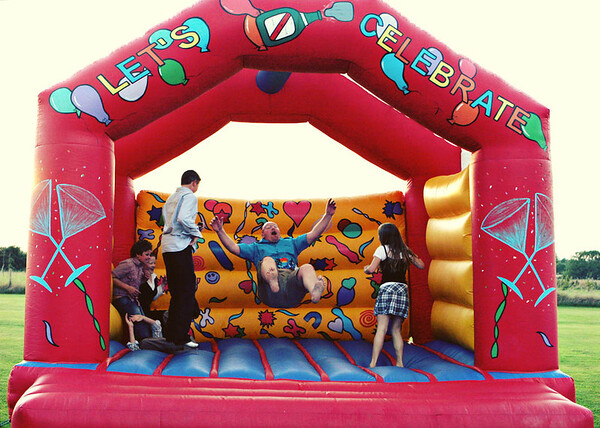 Such Fun! A bouncy castle set up at Elms Barn