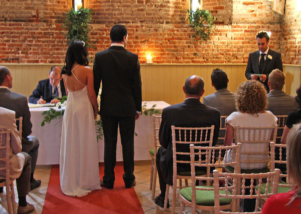 A reading during a ceremony at Elms Barn