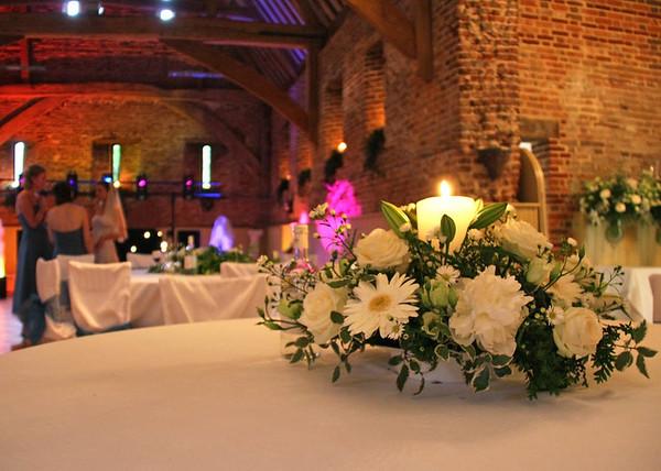 Evening candles for an evening reception at Elms Barn