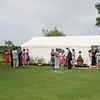 An outdoor wedding reception at Elms Barn