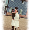 The brides feet were aching so a little piggy back was in order at Stackyard Lodge at Elms Barn