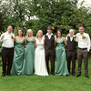 An informally formal group shot at Elms Barn of the main wedding party
