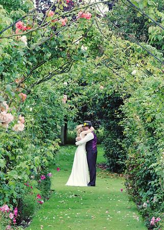 Happy couple in Elms Barn gardens