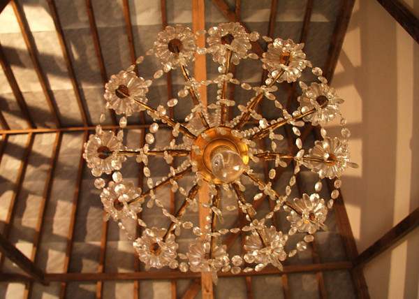One of the chandeliers in the main barn at Elms Barn