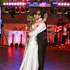The first dance at an Elms Barn Wedding reception