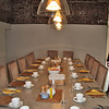 Breakfast table set up inside Stackyard Lodge at Elms Barn