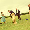 Giant Jenga at Elms Barn during an afternoon wedding reception