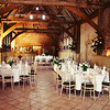 Room set up for a wedding breakfast at Elms Barn