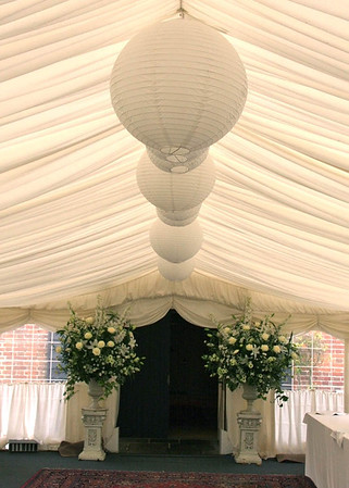 The entrance through the marquee into the barn at an Elms Barn Wedding