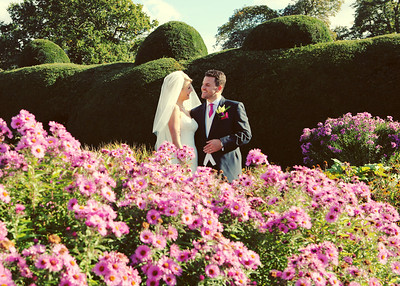 A bride and groom on their wedding day at Glemham Hall