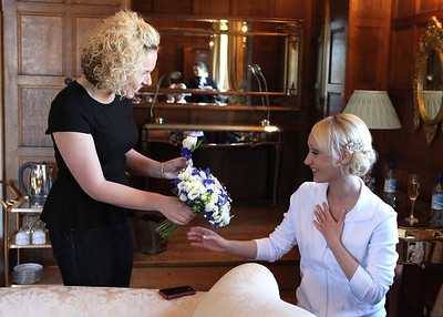 Getting ready in the bridal suite at Hengrave Hall on a spring wedding day