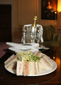Sandwiches and Champagne for a bride getting ready at Hintlesham Hall for her wedding