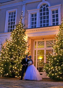 A bride and groom on their Christmas Wedding Day at Hintlesham Hall