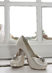 Gorgeous bridal shoes at a winter wedding at Hintlesham Hall
