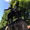 Moving further along the Freedom Trail, we come to this statue honoring Paul Revere. Everyone wants their picture taken with him.......
