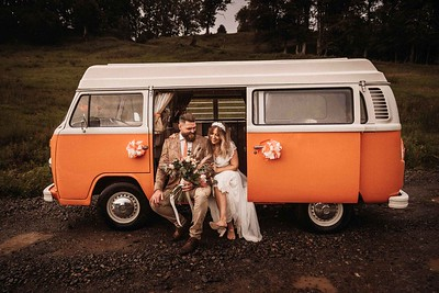 Vw Wedding photo. Boho Bride Hidden River Cabins