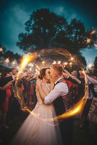 Award Winning Sparkler Wedding Photo. Kendal Photographer