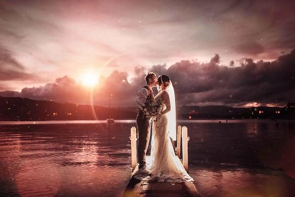 Sunset Wedding Photos at Merewood Hotel  Lake District