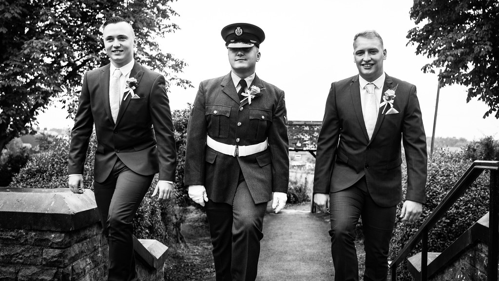Groom in Uniform with his Ushers