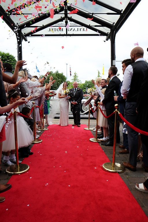 Bride and Groom red carpet treatment.