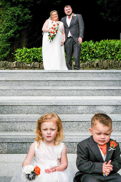 Bride and Groom with Flower Girl and Page Boy.