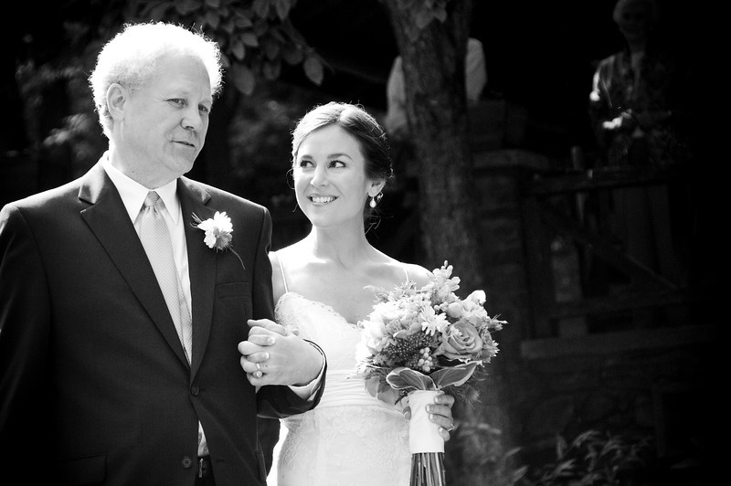 The bride excited to have her father let her go in love...