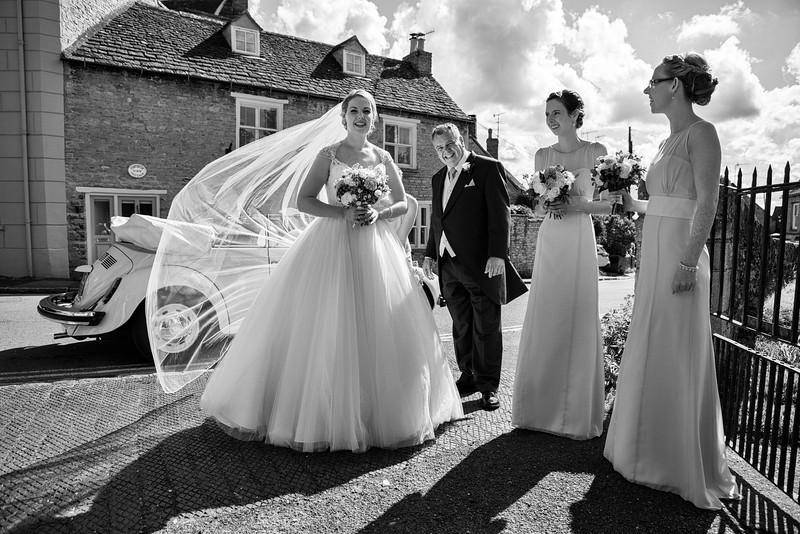 Backlit bride at Charlbury Church