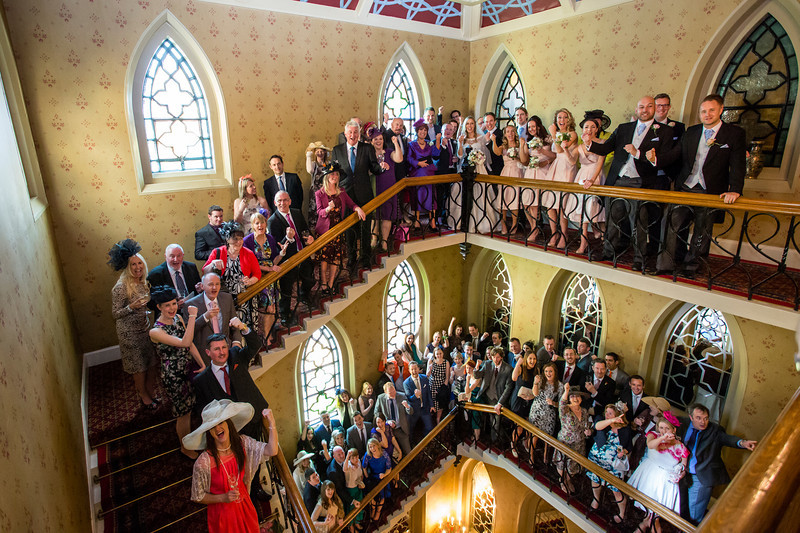 Group photo on the staircase, Randolph Hotel, Oxford