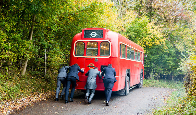 Not posed bus breakdown, Old Luxter's Barn