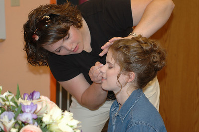 Getting Ready - Krista Humphrey (Makeup) helps Sarah prepare -HP