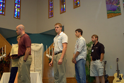 Rehearsal - Pastor Phil Dooley in the background; David with his groomsmen: Best Man Michael Mosley, Aaron Coleman, and Jason Cranston. - RB