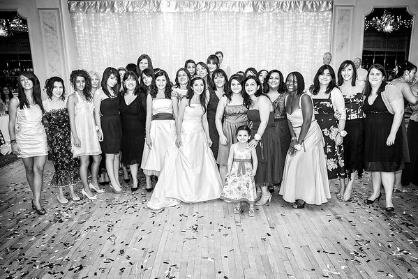 greek bride with her female wedding guests