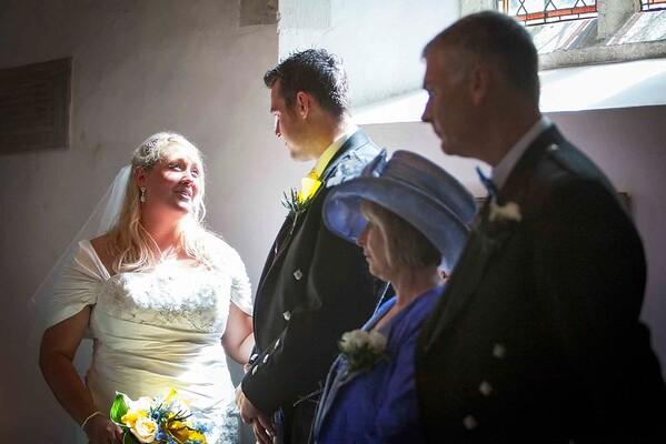 sun shining onto bride at church