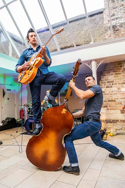 rockabilly riot palying at wedding reception