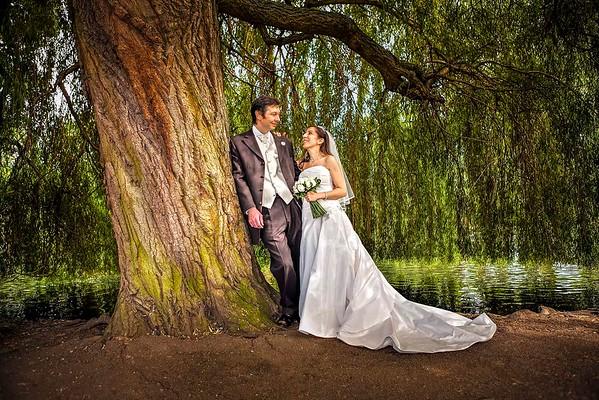 greek bride and groom by lake