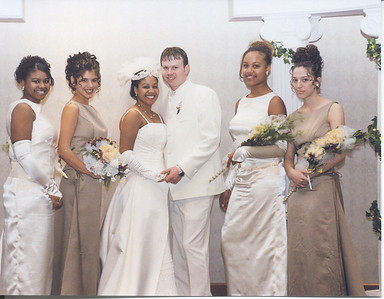 The couple and Bridesmaids Stonewall-Halle Wedding