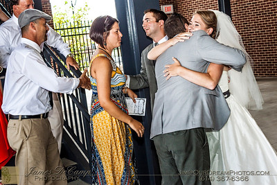 The wedding and reception of Megan Liska and Mark Steahly held at the Huntington Park Stadium in Columbus, Ohio Saturday afternoon/evening July 14, 2012. (© Abigail Grove   http://OurDreamPhotos.com   614-367-6366)