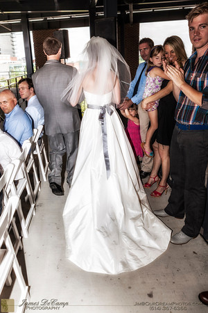 The wedding and reception of Megan Liska and Mark Steahly held at the Huntington Park Stadium in Columbus, Ohio Saturday afternoon/evening July 14, 2012. (© James D. DeCamp   http://OurDreamPhotos.com   614-367-6366)