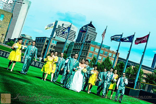 The wedding and reception of Megan Liska and Mark Steahly held at the Huntington Park Stadium in Columbus, Ohio Saturday afternoon/evening July 14, 2012. (© Abigail Grove | http://OurDreamPhotos.com | 614-367-6366)