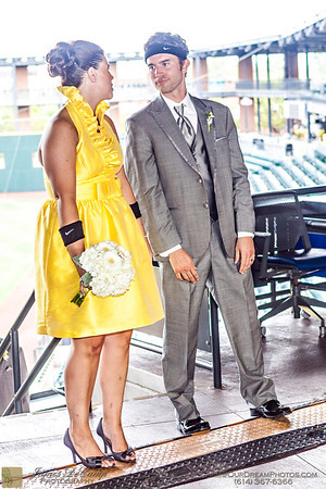 The wedding and reception of Megan Liska and Mark Steahly held at the Huntington Park Stadium in Columbus, Ohio Saturday afternoon/evening July 14, 2012. (© James D. DeCamp | http://OurDreamPhotos.com | 614-367-6366)
